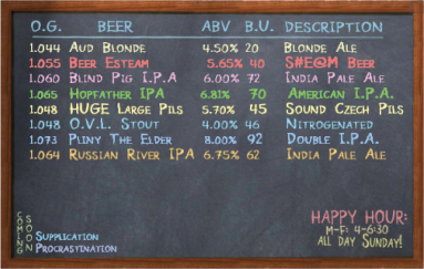Sample of Russian River Brewing Company's Chalkboard